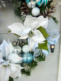 Christmas Wreath in Turquoise Blue and White - Christmas Decorations