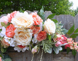 Coral Wedding Flowers - Wedding Arch - Wedding Arbor Decorations - Wedding decorations - Julie Butler Creations
