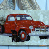 Red Truck tile sign - Christmas gift - Black lab art - Red truck - Tile sign - Julie Butler Creations