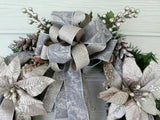 Christmas Wreath - Platinum Poinsettia door Wreath - Wreaths - Holiday Door Decoration