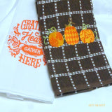 Embroidered Thanksgiving towel - Tea Towels - Embroidered Kitchen towel - Towels - Julie Butler Creations