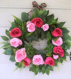 Summer wreath, Wedding Wreaths, Pink rose wreath, Front door decor, Spring Wreaths, peony wreath - Julie Butler Creations
