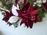 Christmas Door Decorations - Burgundy Christmas Wreath - Christmas Decorations - Christmas Wreaths