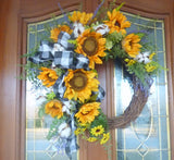 Sunflower Farmhouse wreaths, Spring/Summer wreath, Spring wreath for front door, front door wreath - Julie Butler Creations