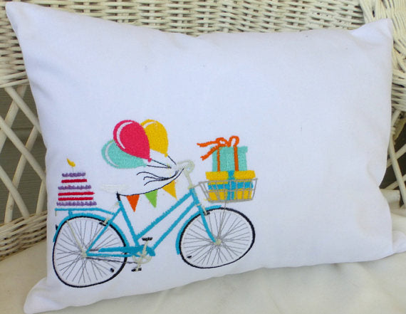 Birthday Bicycle Pillow covers - Embroidered bicycle pillow - embroidered pillows - Accent pillows - Julie Butler Creations