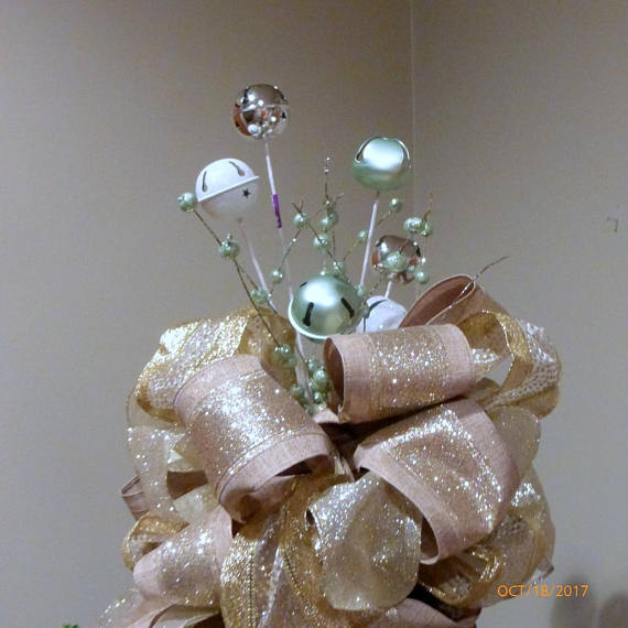 Bell Christmas Tree topper - Ribbon topper - Tree decorations - Bow Topper