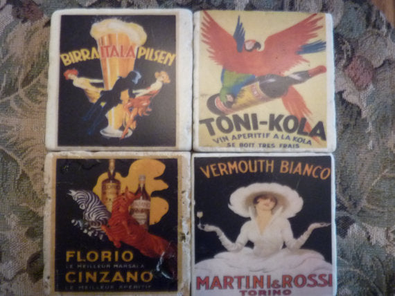Coasters - Vintage French Cordial Ads - set of 4 Travertine coasters - stone coasters