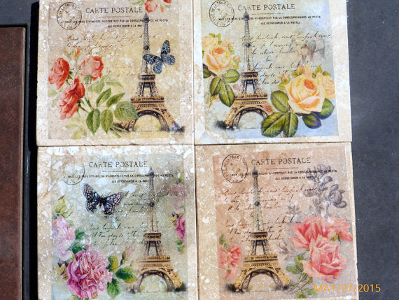 Paris themed coasters - Travertine tile coasters - Marble Coasters