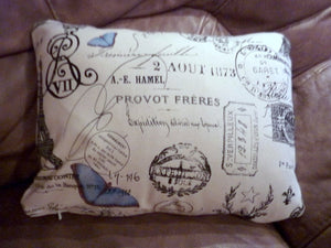Paris Pillow Cover - Premier Prints French Stamp - Blue Butterfly - French Country -accent pillow - Julie Butler Creations