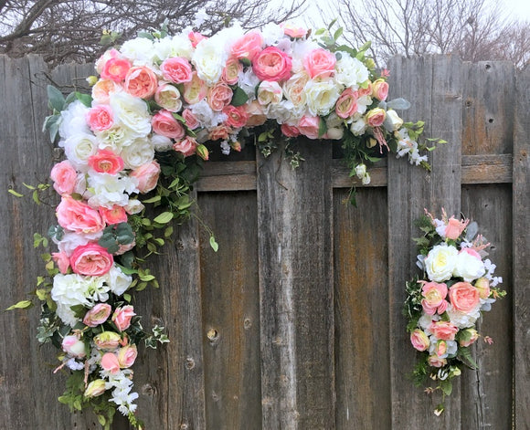 Wedding Arbor flowers - Pink and white and rose arch - Wedding Flowers - Head table centerpiece