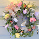 Spring Wreath - Easter wreaths - Front door decor - Easter Bunny Wreath - door wreath for spring - Julie Butler Creations