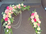 Wedding Arch Flowers, Fuschia, Pink and White Rose swag, Wedding Decorations, flower swag - Julie Butler Creations