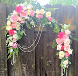 Wedding Arch Flowers - Pink and White Rose swag - Wedding Decorations