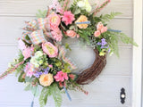 Pastel summer Wreath - wreaths - door wreaths - Spring Wreaths - Front door decor - Julie Butler Creations