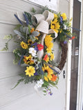 Farm House wreaths - Spring wreath - sunflower wreath - Mothers Day gift - door wreath - front door decor - Julie Butler Creations