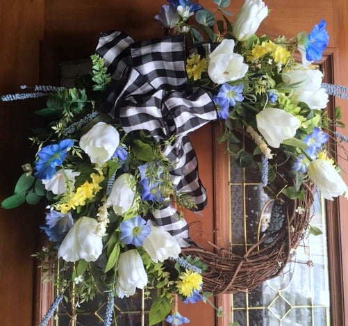 Farm House wreaths - Spring wreath - summer wreath - door wreath - front door decor - Julie Butler Creations