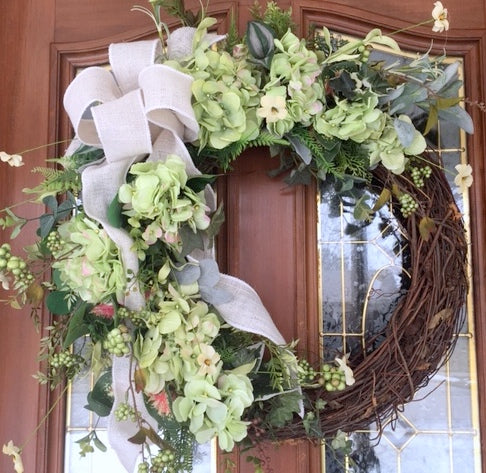 Hydrangea Wreath - Spring wreaths - Summer Wreaths - Front door decor - Farm House Decor - Julie Butler Creations