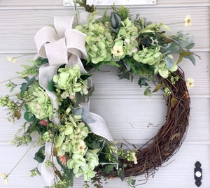 Hydrangea Wreath Spring Wreaths Summer Wreaths Front Door Wreath