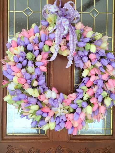Spring Tulip Wreath, Summer Wreath, Tulip Wreath, Front door wreath
