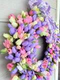 Spring Tulip Wreath, Summer Wreath, Tulip Wreath, Front door wreath - Julie Butler Creations