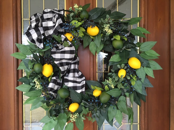 Summer wreath, Front door Wreath, Spring Wreath, Farmhouse decor - Lemon Boxwood Wreath