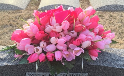 Tulip Memorial Spray - Cemetery flowers - Gravesite spray - Sympathy flowers - Headstone spray