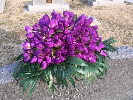 Dark Purple Mini Tulip Memorial Spray - Cemetery flowers  - memorial flowers - Headstone spray - Julie Butler Creations