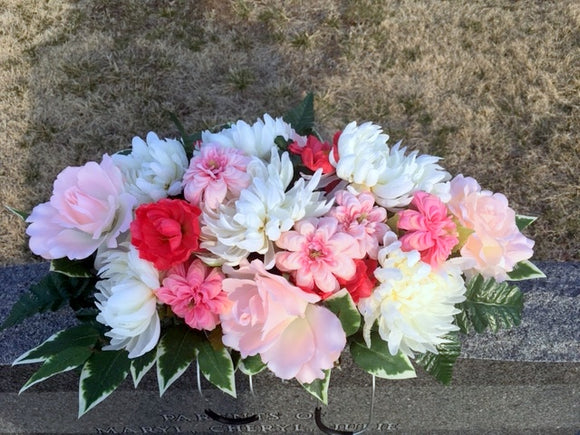 Pink and White Headstone Flowers - Cemetery flowers - Memorial spray -Sympathy flowers