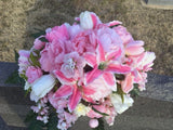 Cemetery flowers - Grave site spray - memorial flowers, headstone saddle, grave decoration - Julie Butler Creations