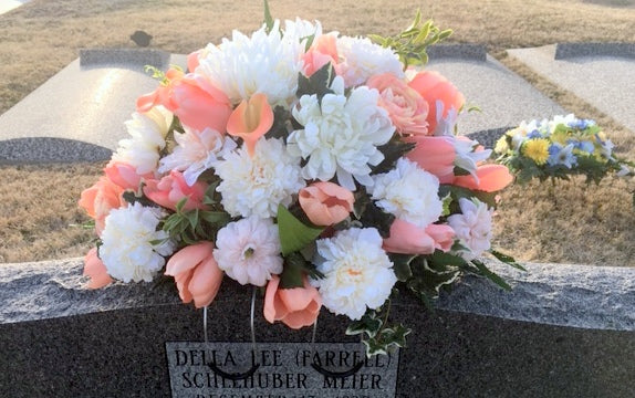 Headstone Spray, Cemetery flowers, Memorial Flowers, Sympathy flowers. Grave decoration - Julie Butler Creations