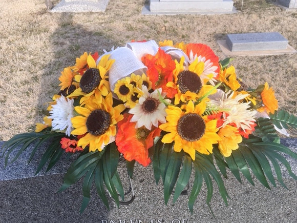 Sunflower Headstone Spray, Cemetery flowers, Memorial Flowers, Sympathy flowers. Grave decoration