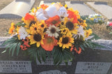 Sunflower Headstone Spray, Cemetery flowers, Memorial Flowers, Sympathy flowers. Grave decoration - Julie Butler Creations