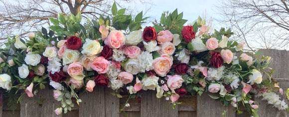 Wedding Arch Swag, Burgundy and Pink Wedding Flowers, Wedding Decorations, Wedding arch swag