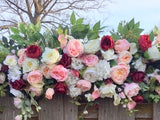 Wedding Arch Swag, Burgundy and Pink Wedding Flowers, Wedding Decorations, Wedding arch swag - Julie Butler Creations