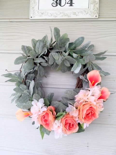 Lambs Ear wreath, Farmhouse wreath, Front door wreath, Farmhouse decor, Spring Wreaths, Summer wreath - Julie Butler Creations