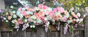 Wedding Arch Flowers, Pink and White Wedding Flowers, Wedding Decorations, Wedding arch swag - Julie Butler Creations