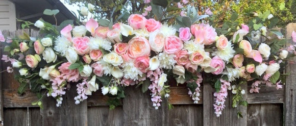 Wedding Arch Flowers, Pink and White Wedding Flowers, Wedding Decorations, Wedding arch swag