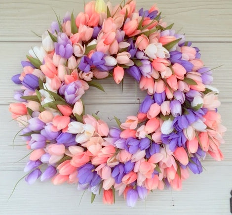 Spring Tulip Wreath, Tulip Wreath, Summer Wreath, Easter wreath, Front door wreath, Wreaths, Easter decoration, spring wreath