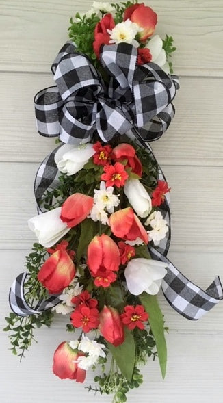Tulip Farmhouse Door Swag, Summer door swag, Door swag, Red and white door swag