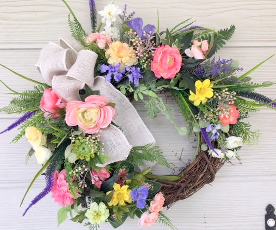 Summer wreaths. Farmhouse wreaths, Pastel Spring Wreaths, French Country decor - Julie Butler Creations