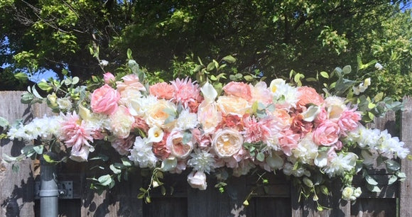 Wedding Arch Flowers, Dusty Pink and Ivory Wedding Flowers, Wedding Decorations, Wedding arch swag - Julie Butler Creations