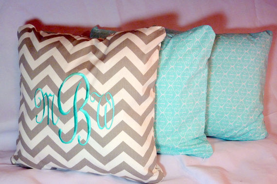 Monogrammed pillow cover - Premier Prints Chevron - Embroidered Pillow - Personalized Wedding Gift