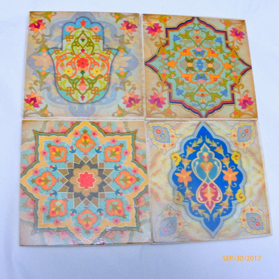Travertine Coasters - Stone Coasters - Decorative tile coasters - Moroccan Tile - coasters - Julie Butler Creations