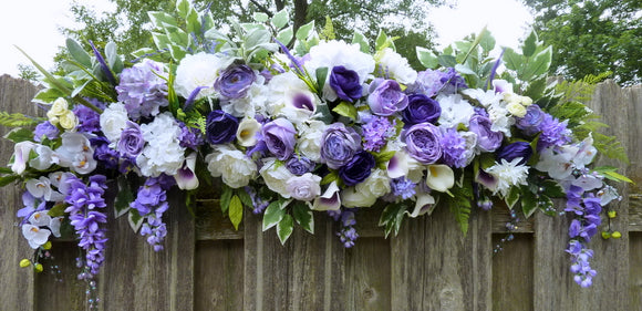 Wedding Arch Flowers, Purple and White Wedding Flowers, Wedding Decorations, Wedding arch swag - Julie Butler Creations