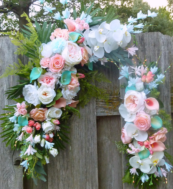Wedding Arch Flowers - Coral, White and lite Turquoise Blue Wedding swag - Beach wedding flowers - Julie Butler Creations