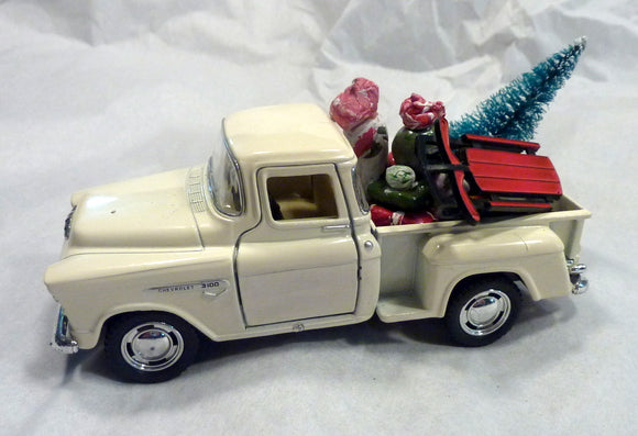 White Farmhouse Truck, Diecast truck decor, Christmas Truck decorations - Julie Butler Creations