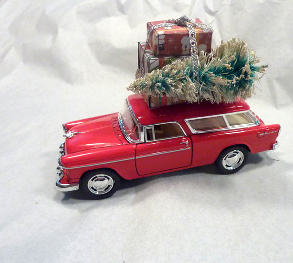 Red Chevy Nomad, Red Truck decor, Diecast car decor, Christmas Truck decorations, Metal truck, Retro Christmas decor