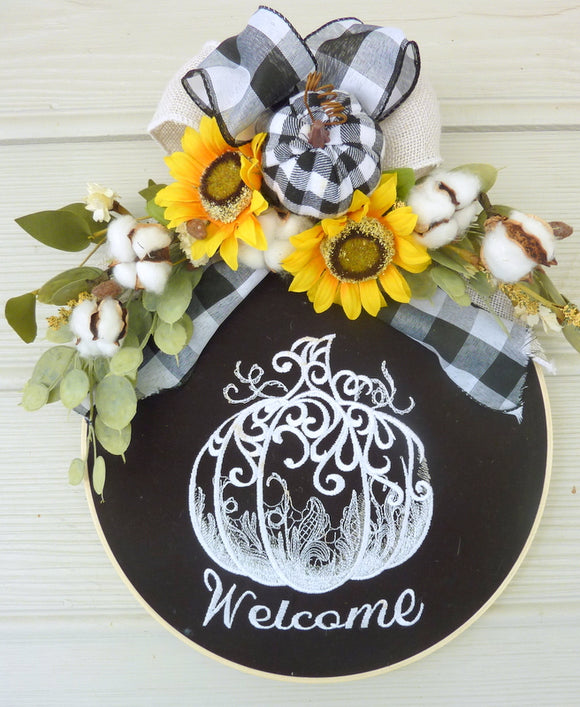 Wood hoop wreath, farmhouse decor, welcome sign, Buffalo Plaid Farmhouse wreath, pumpkin wreath - Julie Butler Creations