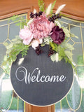 Farmhouse wreath, Embroidery hoop wreath, farmhouse decor, wood hoop welcome - Julie Butler Creations