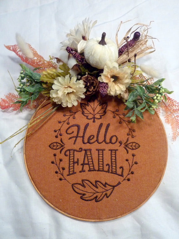 Fall hoop wreath, farmhouse decor, wood hoop welcome sign, Farmhouse wreath - Julie Butler Creations